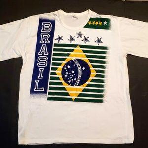 Vintage Brazil Flag Large Print Tee Shirt Large L